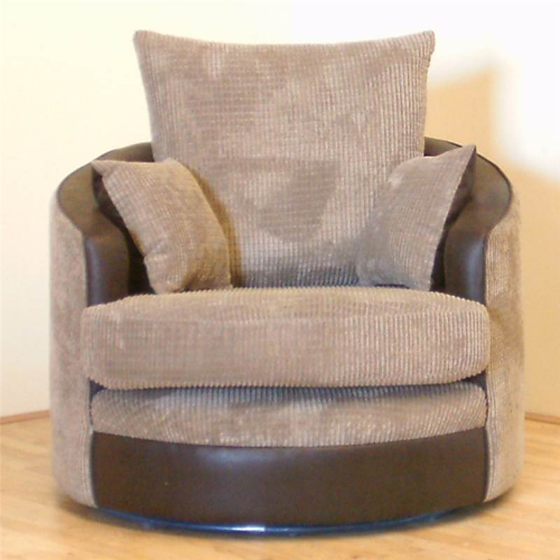 Destiny Swivel Cuddle Chair In Comfy Brown And Beige Jumbo