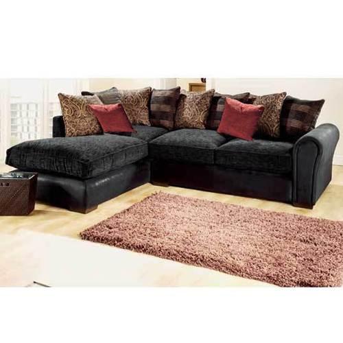 Italian Black Rhino Leather Look Corner Sofa Left Hand