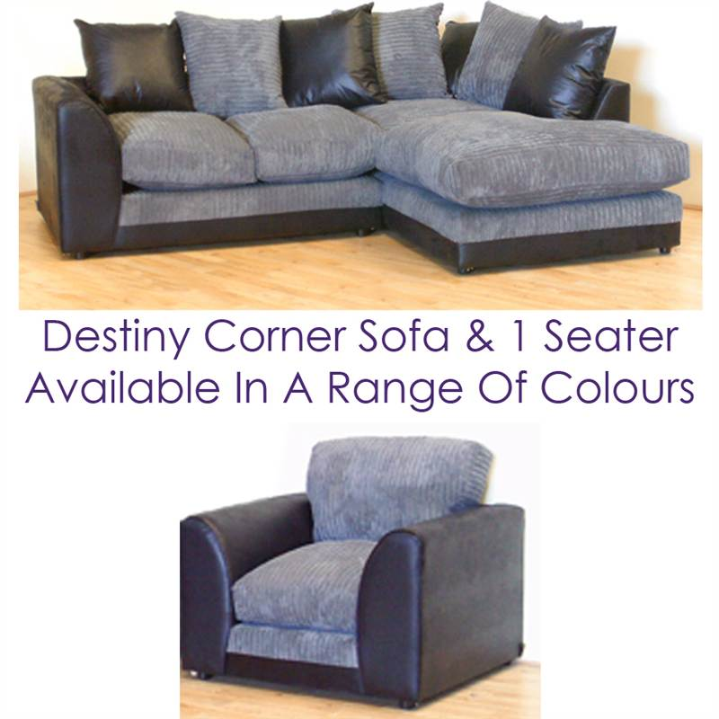 Corner Sofa Bed Ebay Uk: Destiny Corner Sofa With Arm Chair Set Black Rhino Leather