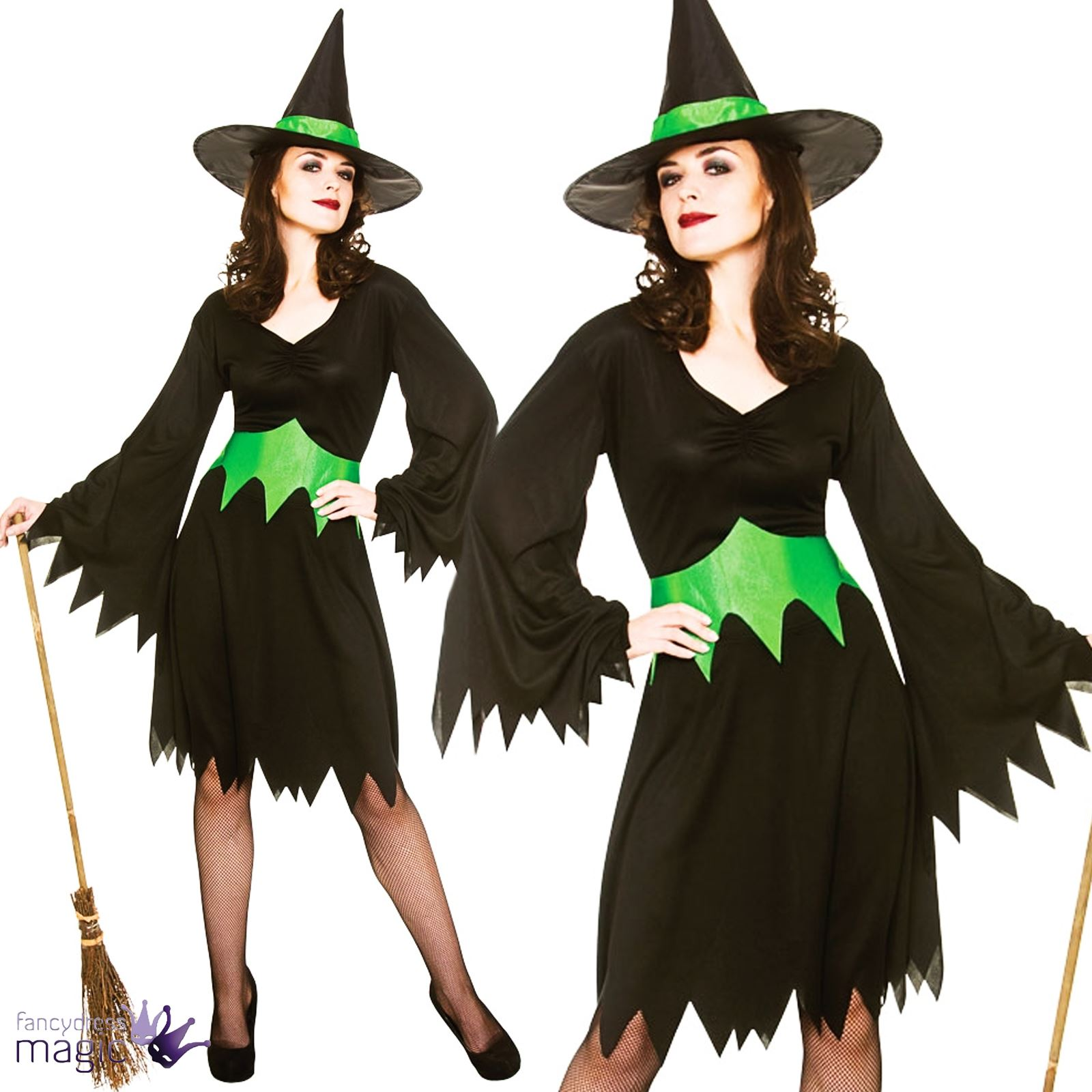 Adults Womens Wicked Witch West Oz Halloween Fancy Dress Outfit ...