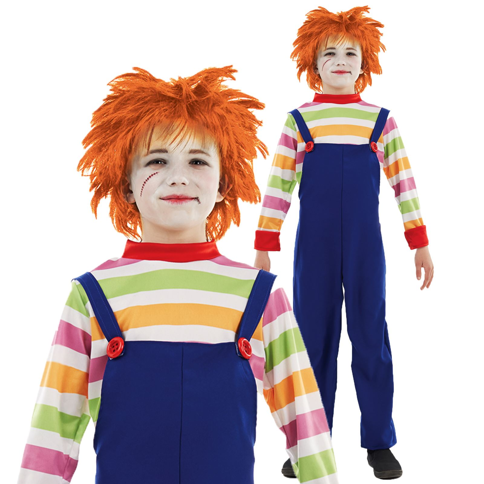 KIDS CHILDS PLAY EVIL DOLL CHUCKY MOVIE HALLOWEEN FANCY DRESS ...