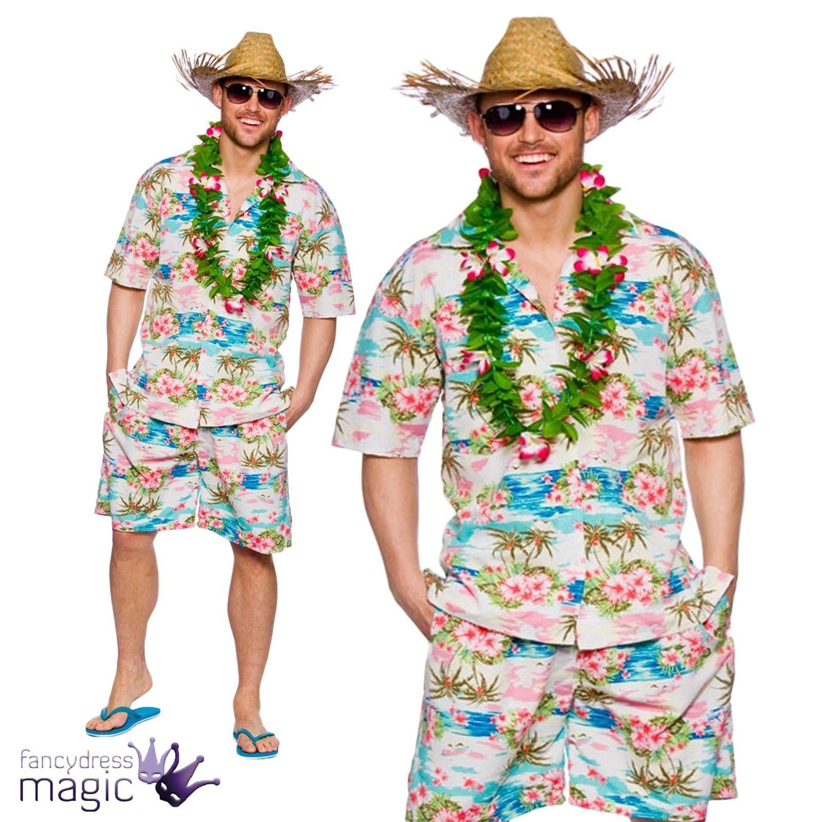 Hawaiian party guy fancy dress costume shirt shorts straw for Hawaiian shirt fancy dress