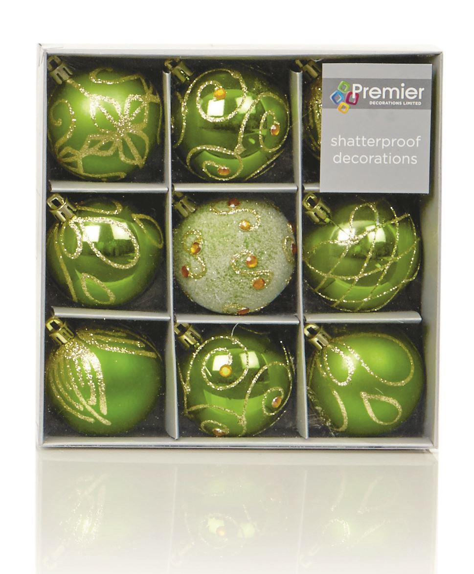 9 X 60mm Luxury Boxed Embossed Glitter Baubles Christmas