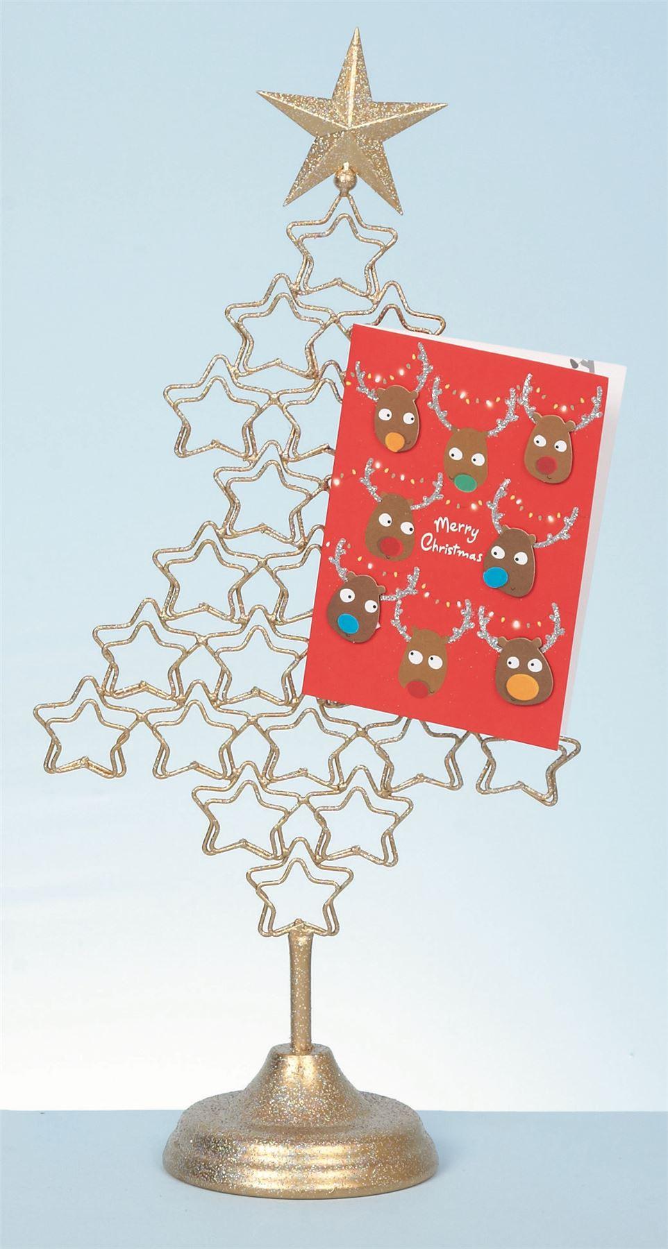 Metal 54cm christmas tree card holder xmas freestanding for Christmas tree holder