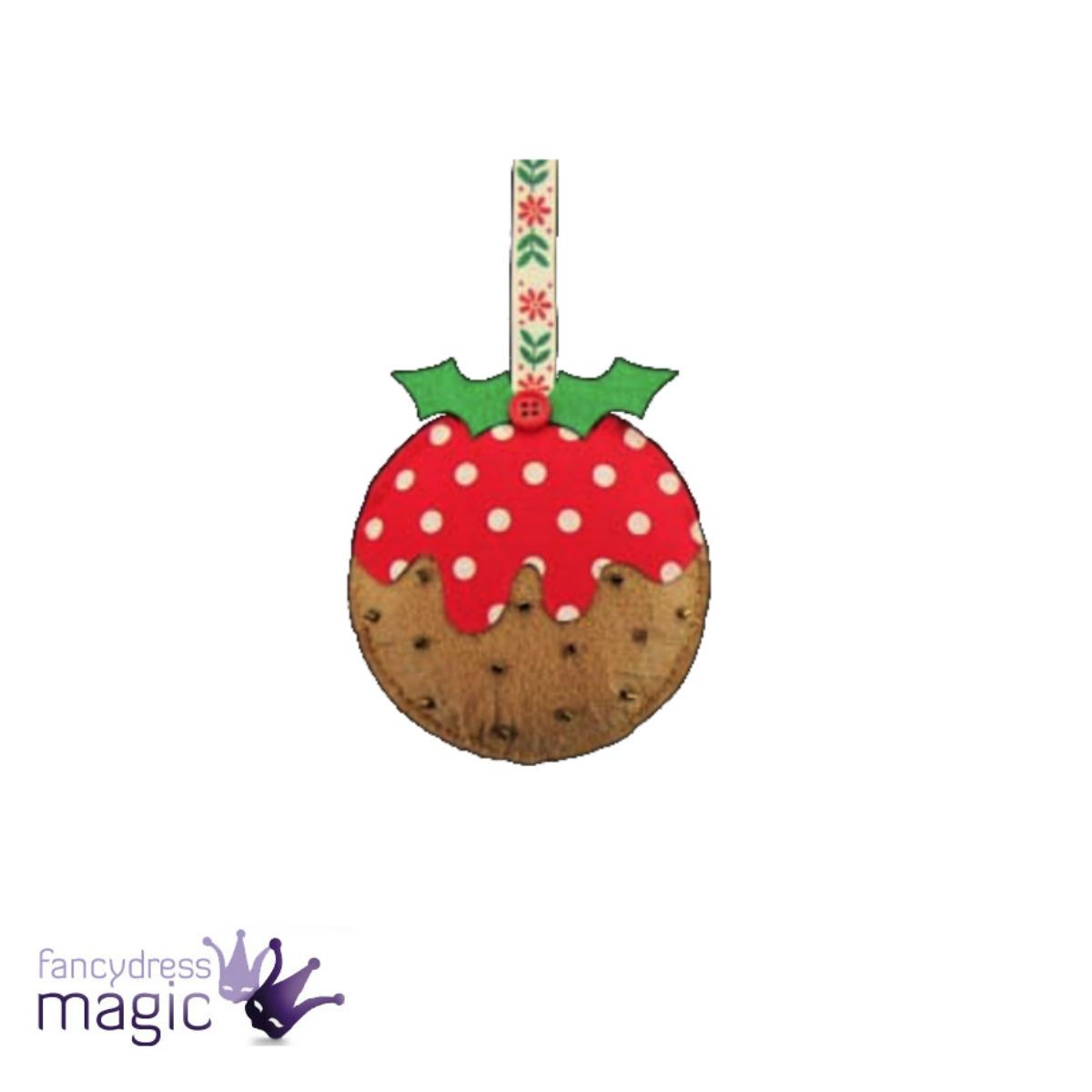 Gisela graham applique plush christmas pudding fabric for Applique decoration