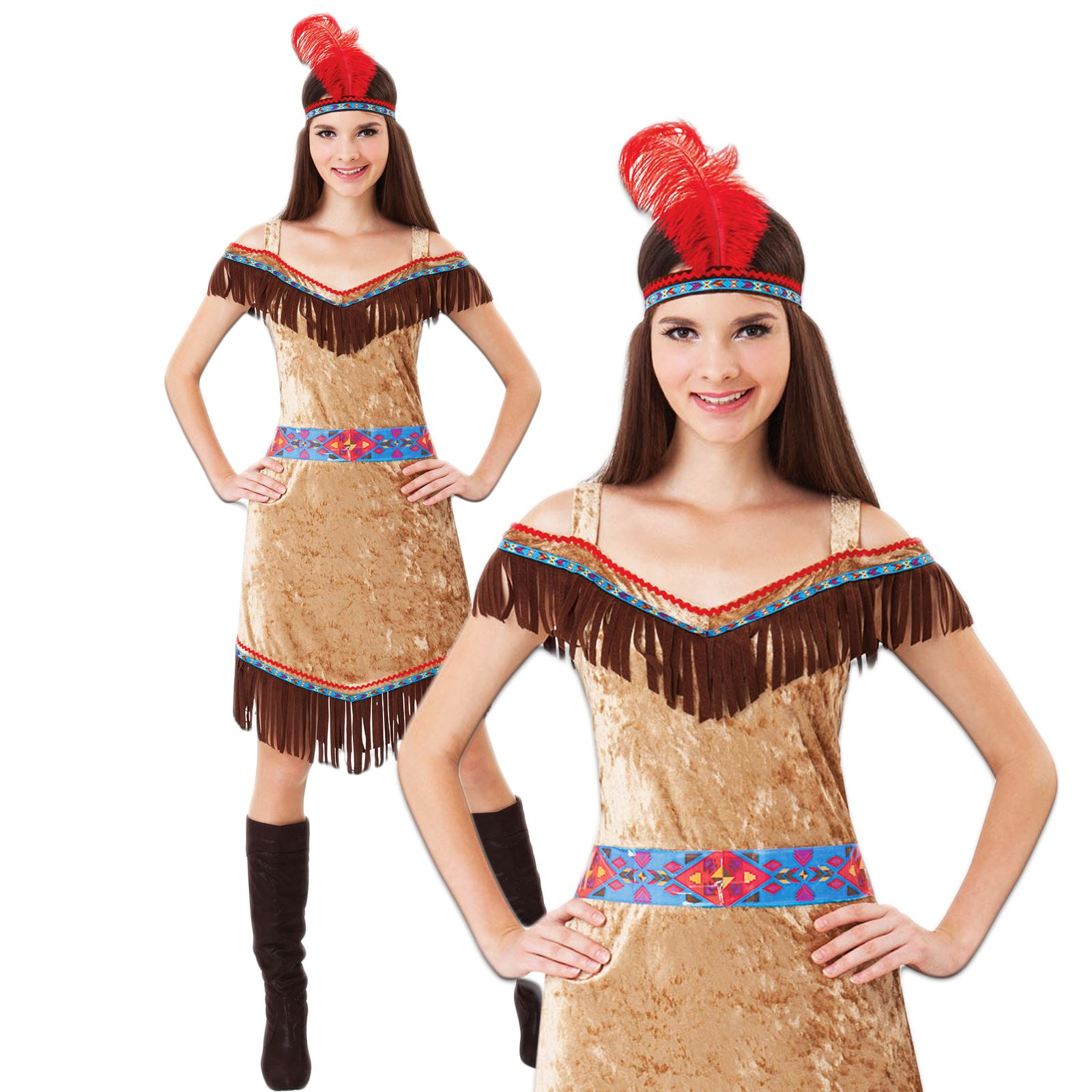 damen deluxe indianer indianer pocahontas western kost m ebay. Black Bedroom Furniture Sets. Home Design Ideas