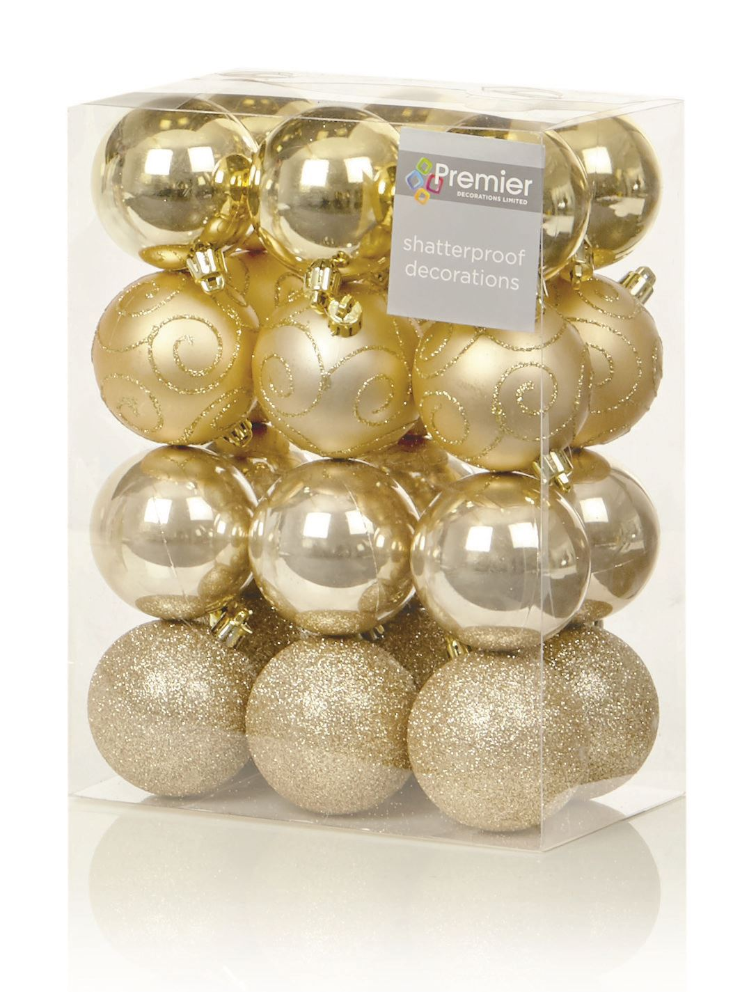 24 X CHRISTMAS TREE BAUBLES XMAS DECORATION BAUBLE 60MM SHATTERPROOF GLITTER