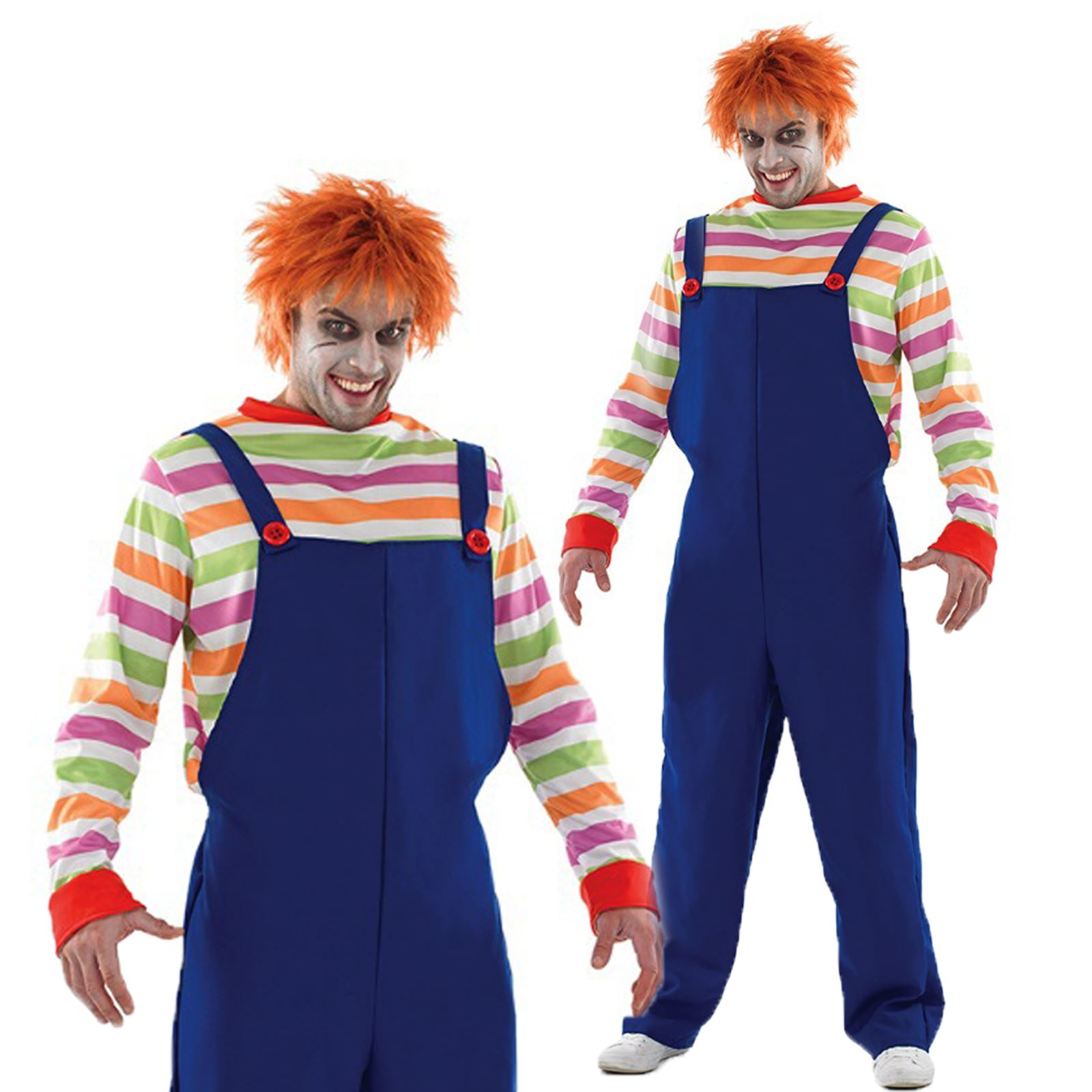 mens adult film horror chucky evil doll childs play halloween fancy dress outfit ebay. Black Bedroom Furniture Sets. Home Design Ideas