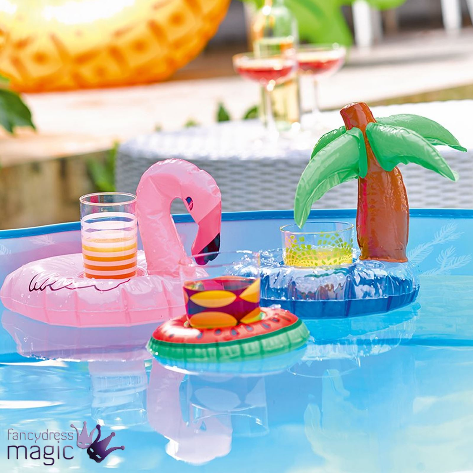talking tables palm flamingo mini inflatable pool drink floating holders set 3 ebay. Black Bedroom Furniture Sets. Home Design Ideas