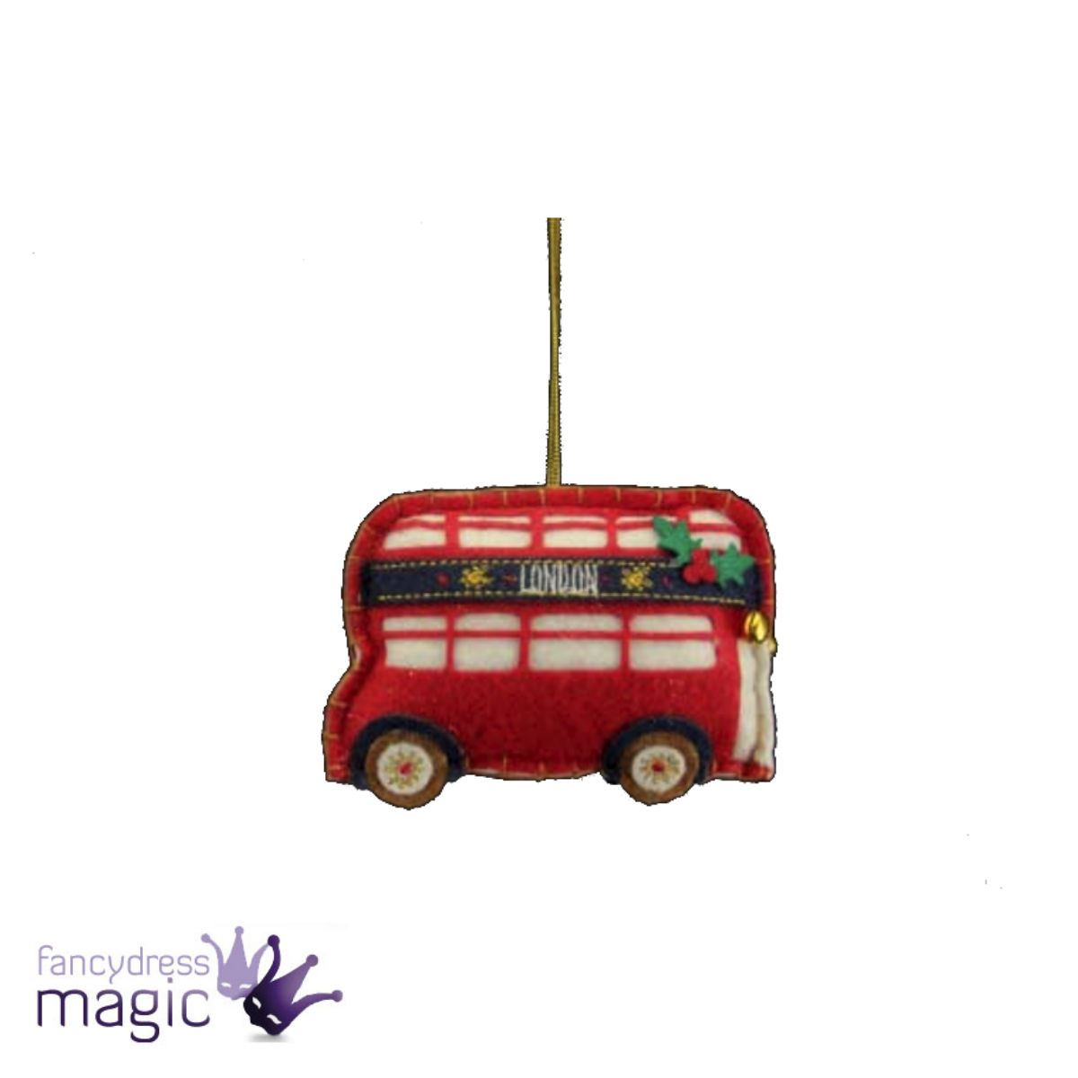 Gisela Graham Felt London Hanging Christmas Decoration Taxi Bus