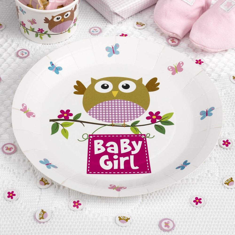 Baby Shower Plate: 8 LITTLE OWLS PAPER PLATES BABY SHOWER DECORATION