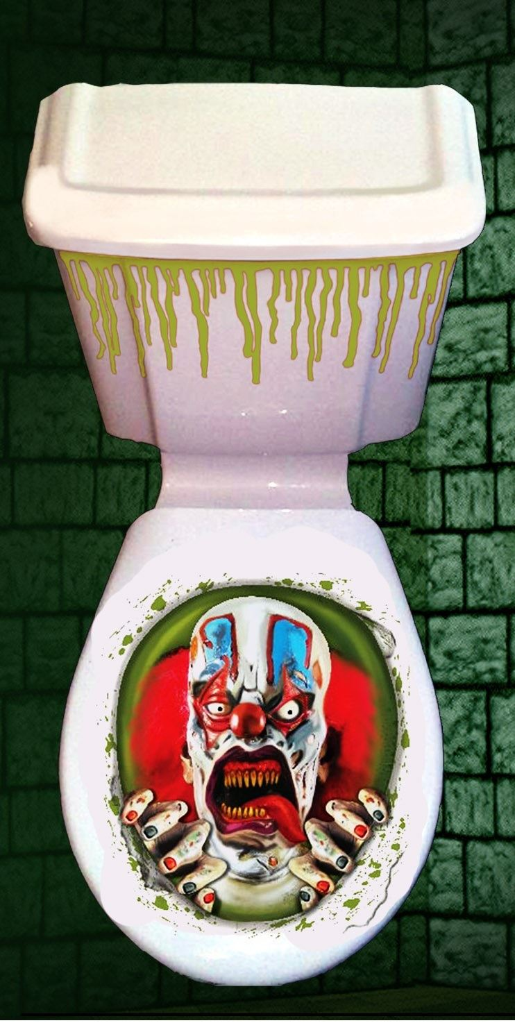 HORROR BATHROOM TOILET SEAT LID CISTERN COVER PARTY NOVELTY HALLOWEEN DECORAT