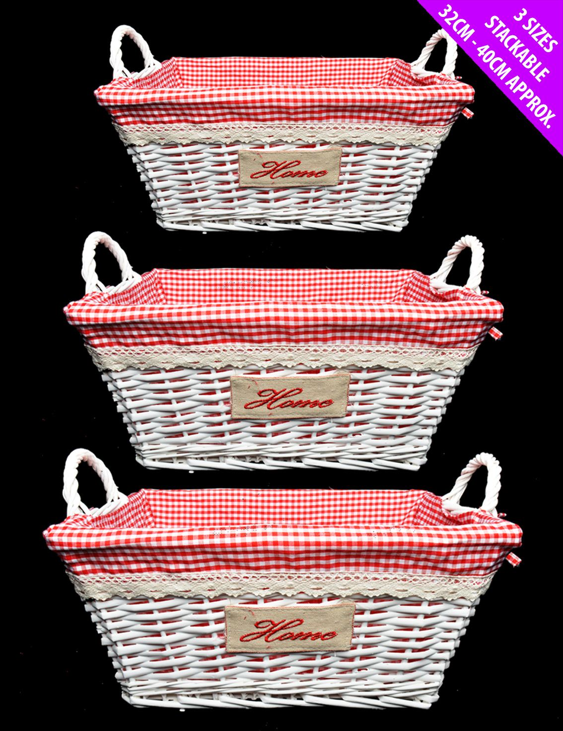 Set Of 3 Willow Wicker Hamper Traditional Home Basket