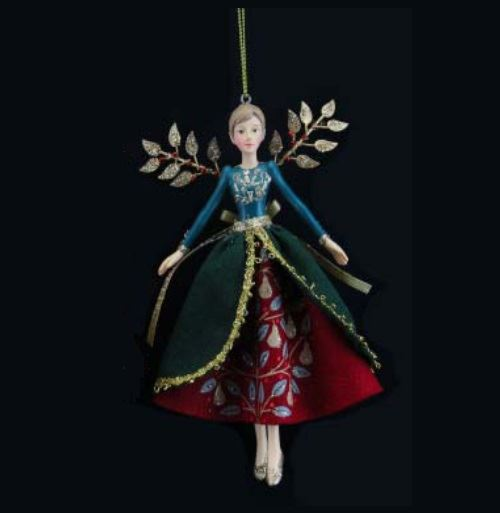 Gisela Graham Christmas Tree Topper: GISELA GRAHAM 1 VINTAGE GOLD PARTRIDGE FAIRY ANGEL