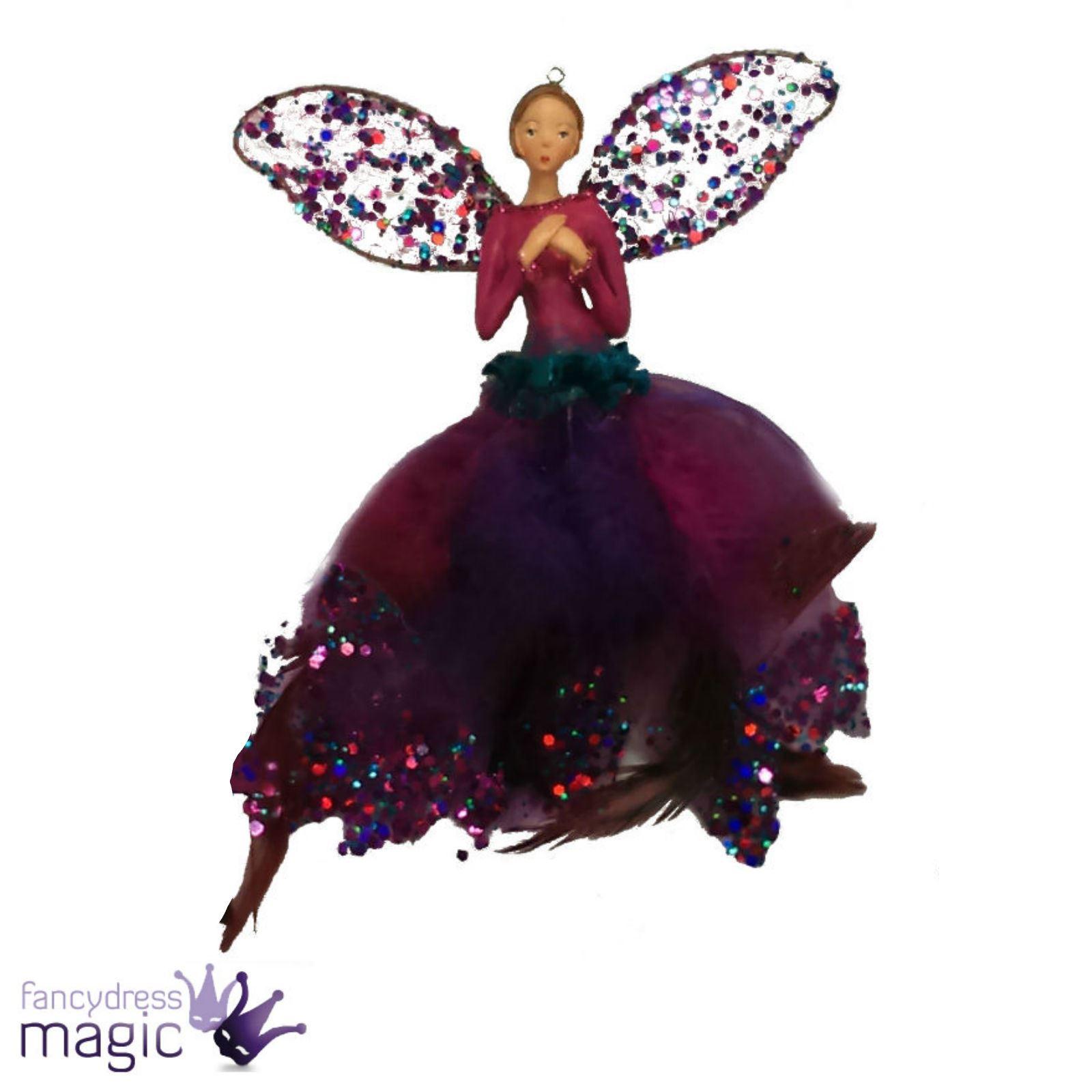 Christmas Fairy Decorations: Gisela Graham Christmas Xmas Tree Feather Fuchsia Peacock