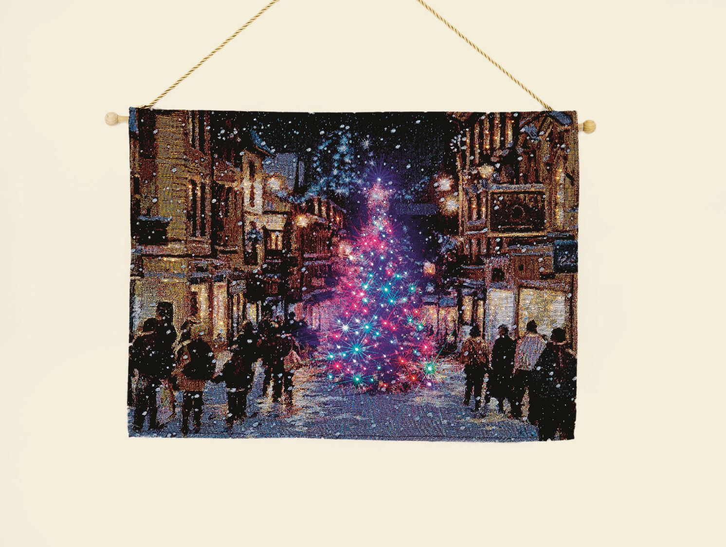 Xmas Christmas Tapestry Hanging Wall Art Led Fibre Optic