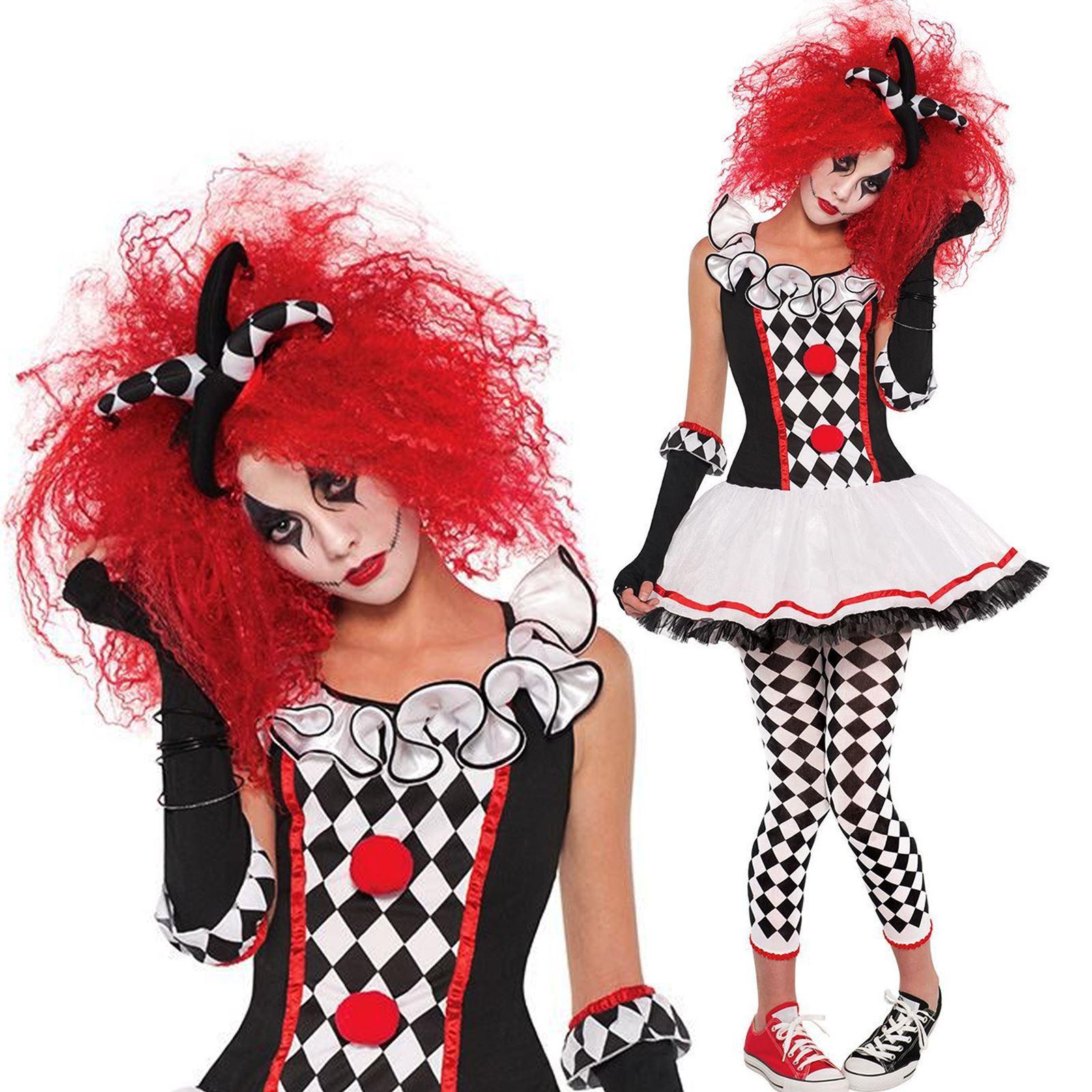 femmes clown arlequin miel bouffon halloween d guisement costume tenue ebay. Black Bedroom Furniture Sets. Home Design Ideas