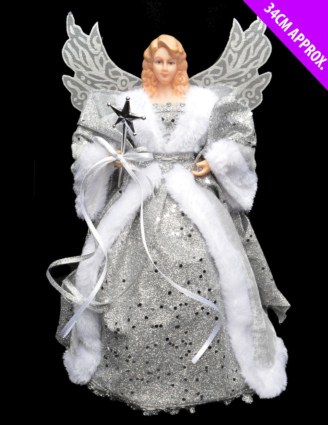 gold silver 34cm traditional angel xmas christmas tree. Black Bedroom Furniture Sets. Home Design Ideas