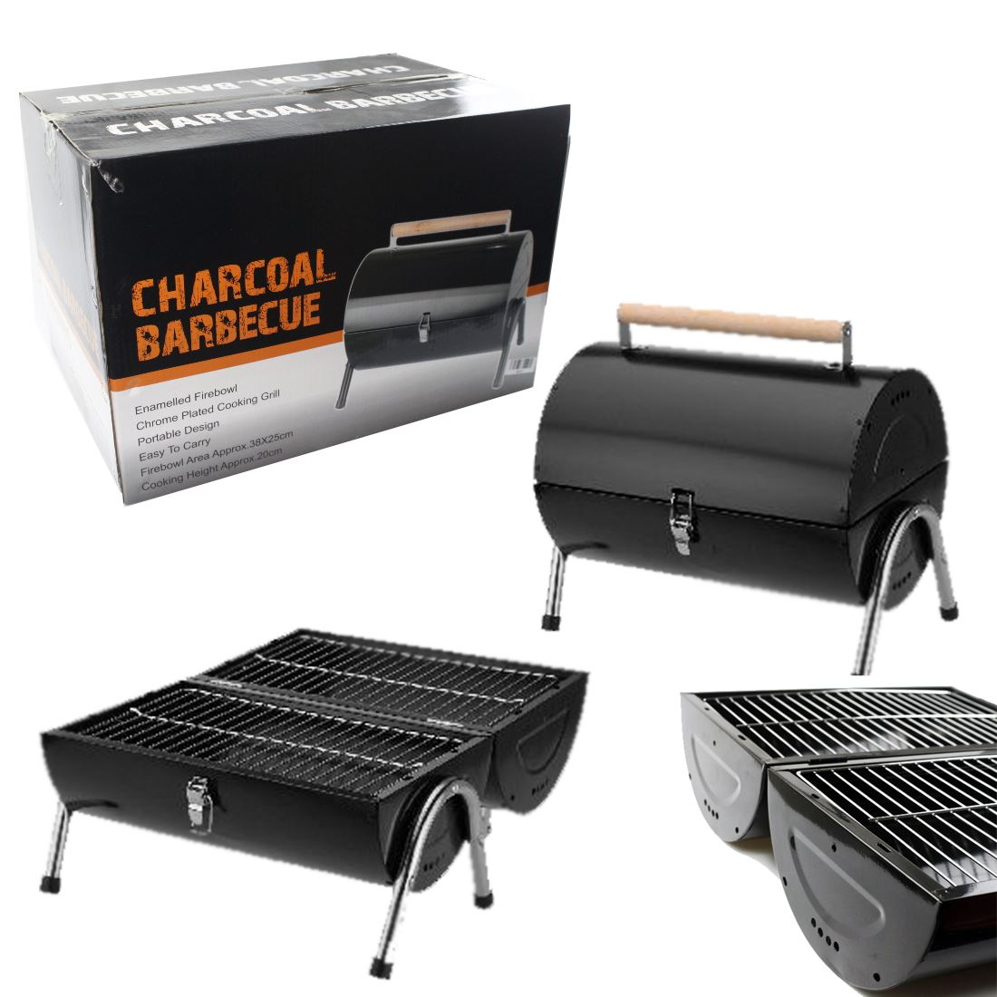 bbq barbecue charcoal grill kettle portable small foldable barrel camping garden ebay. Black Bedroom Furniture Sets. Home Design Ideas