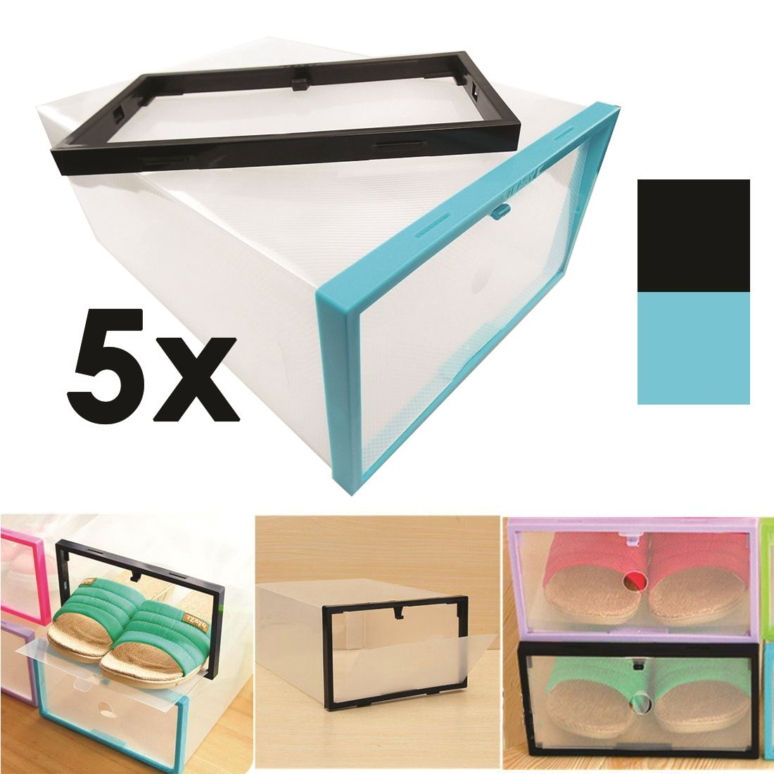 Acrylic Box Singapore Supplier : Stackable clear plastic shoe organiser box home storage