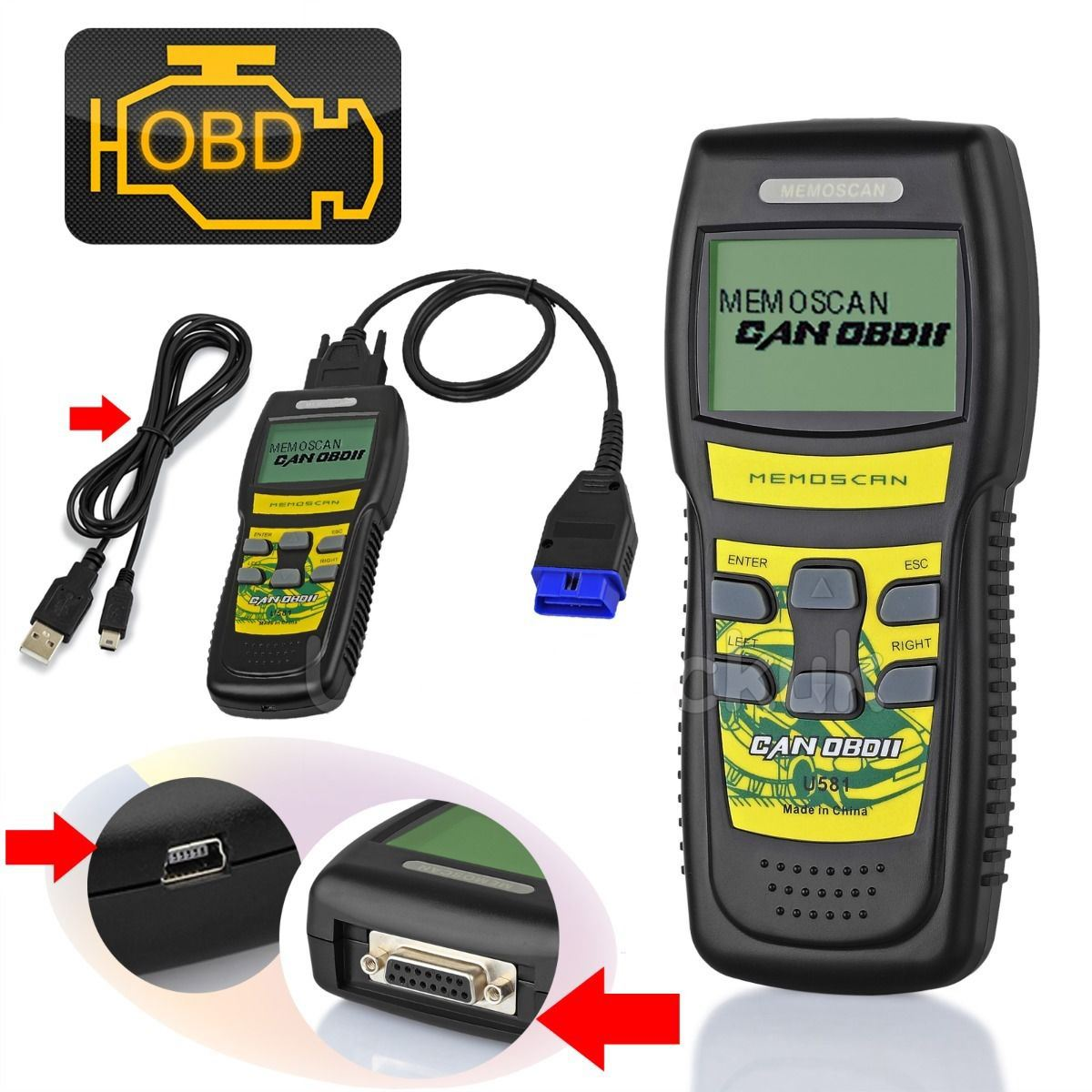 u581 car diagnostic scanner can obd obd2 eobd scan tool engine fault code reader ebay. Black Bedroom Furniture Sets. Home Design Ideas
