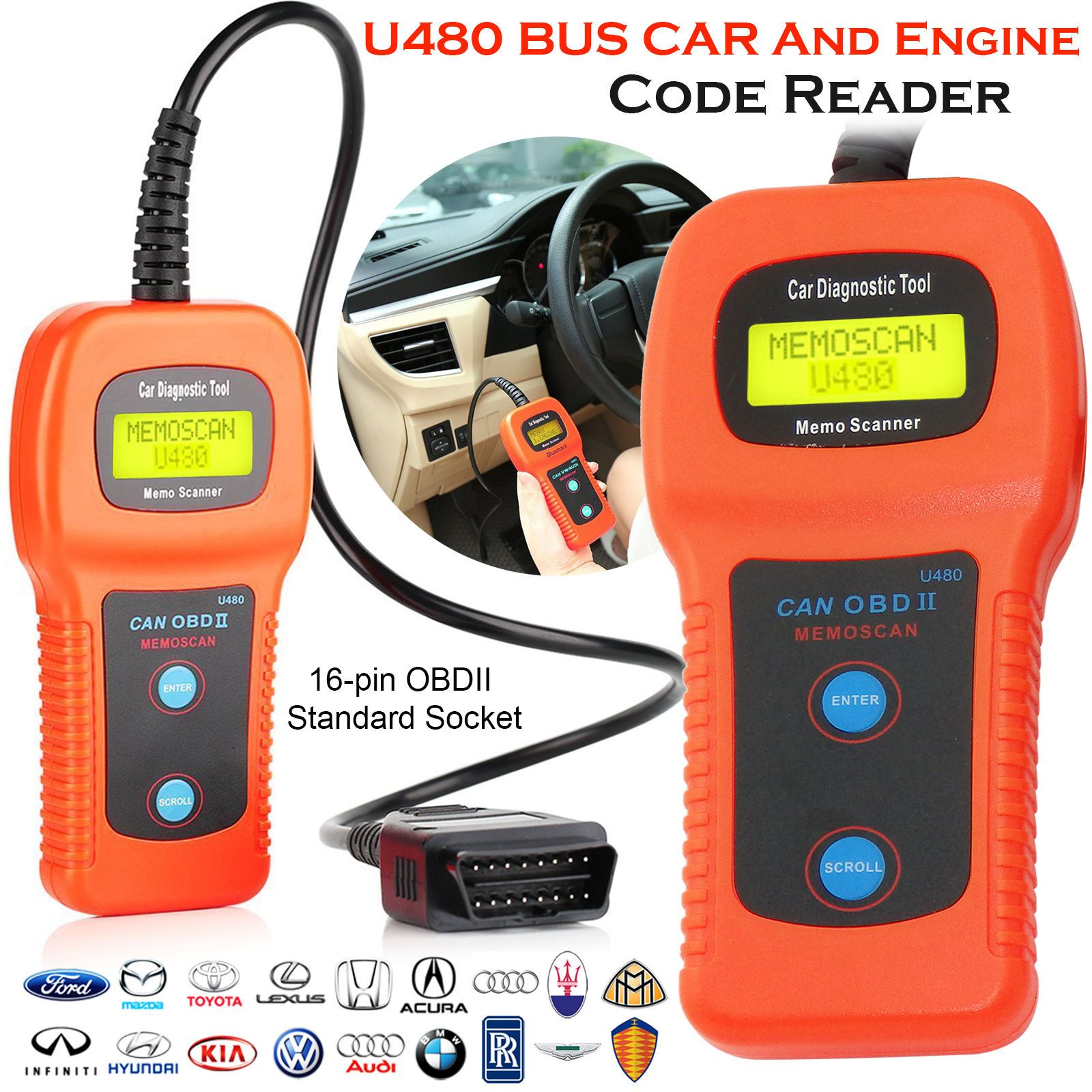 U480 Scanner Car Fault Code Reader CAN BUS OBD OBD2 EOBD ...