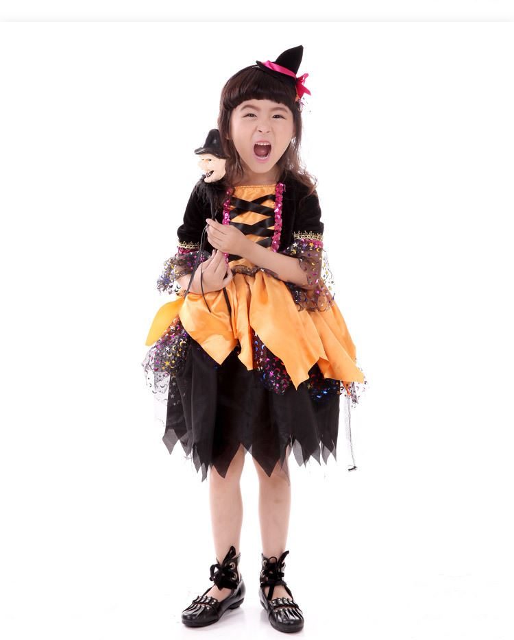 Newly-Pumpkin-Girls-Fancy-Dress-Halloween-Childrens-Kids-Witches-Costume-Party