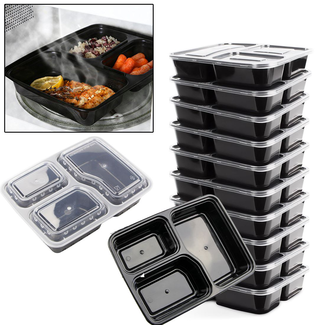 Microwave Food Container ~ New reusable microwave safe stackable meal containers