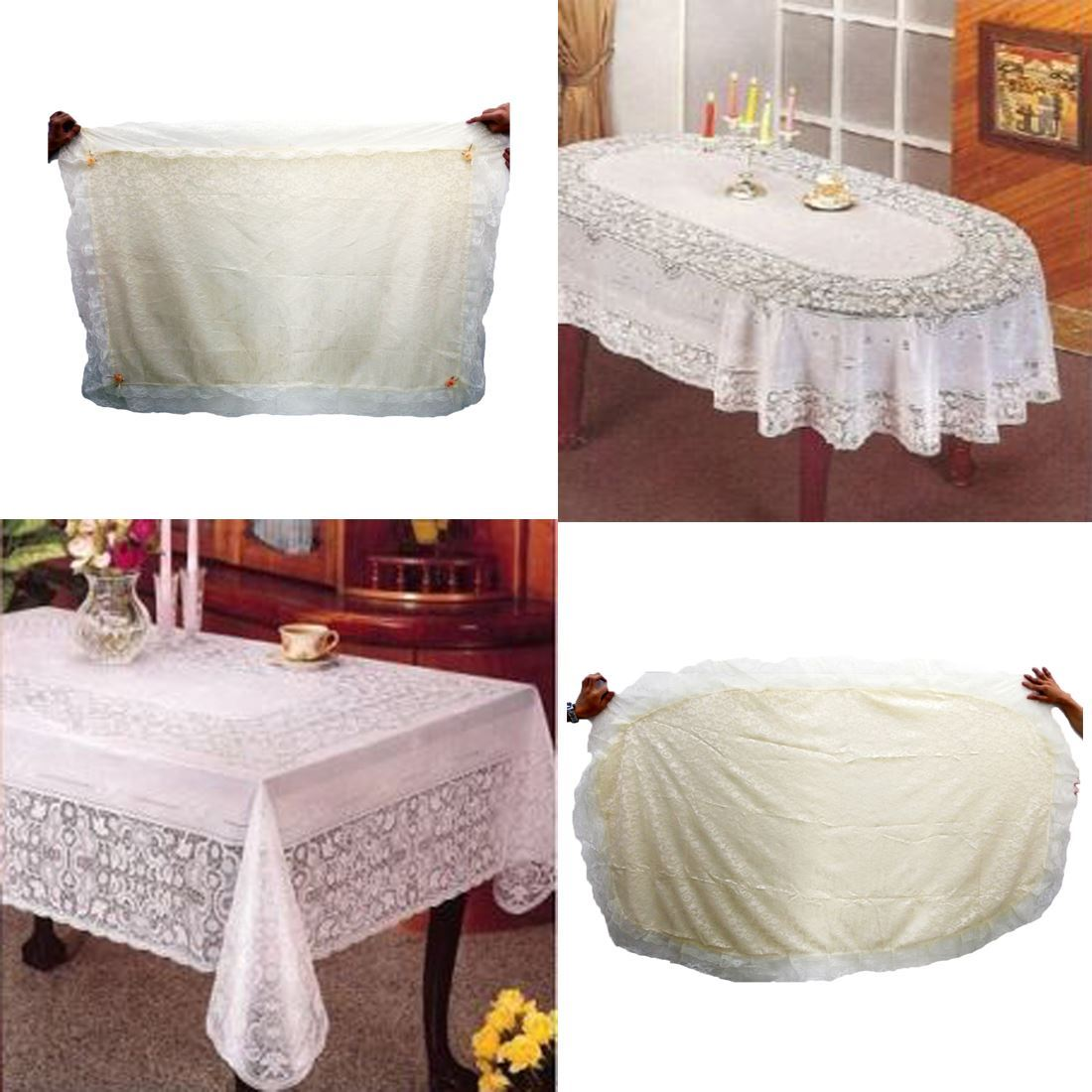 Lace table cloth wipe clean home decor cover embossed for Lace home decor