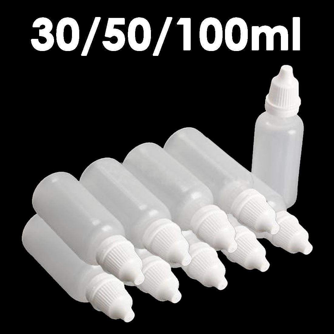 10pcs 30 100ml Empty Plastic Squeezable Dropper Bottle For