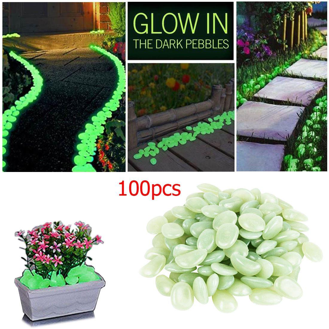 100 green glow in dark pebbles stones luminous garden for Outdoor aquarium uk