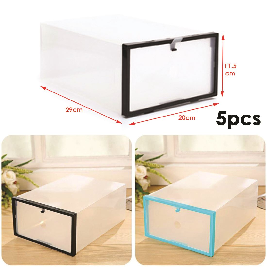 5 Plastic Drawer Shoe Storage Box Clear Stackable Organiser Transparent Folding Ebay