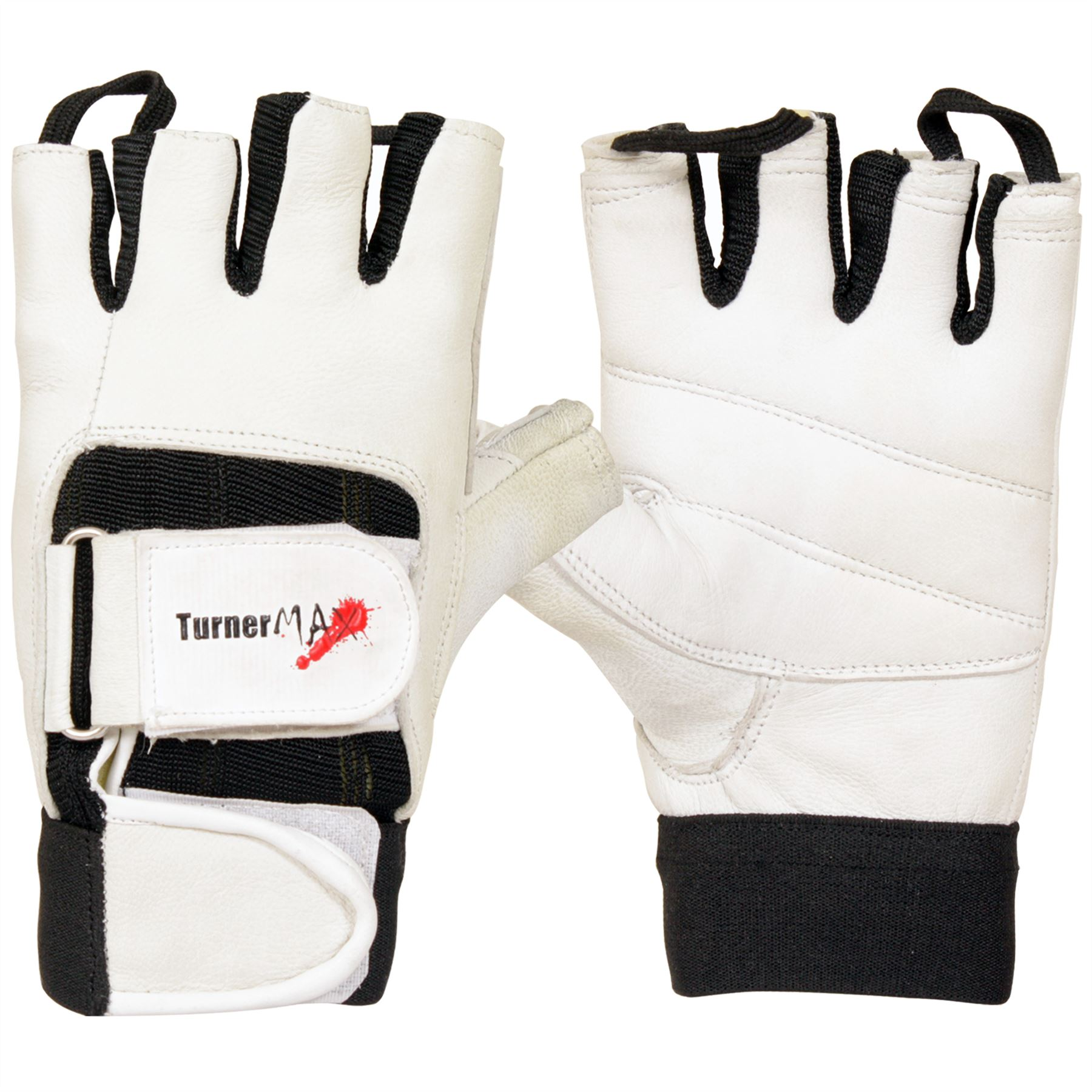 Black Leather Weight Lifting Workout Gloves: TurnerMAX LEATHER Weight Lifting Body Building Gloves Gym
