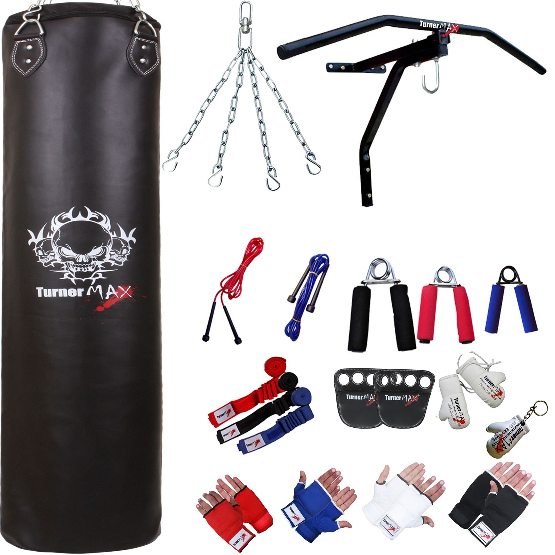 TurnerMAX-13-Piece-Punch-Bag-Set-Filled-Punch-Bag-Wraps-Boxing-Gloves-Bracket