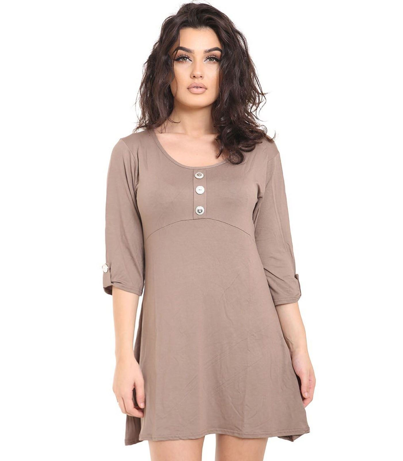 New womens short turn up sleeve front button plain flared swing dress