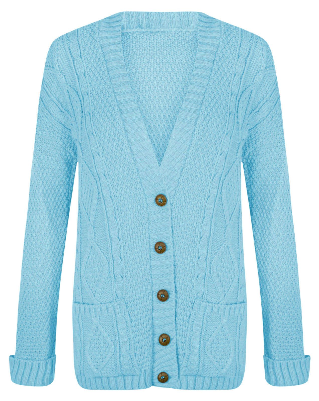 Womens Ladies Chunky Cable Knit Cardigan Button Long ...