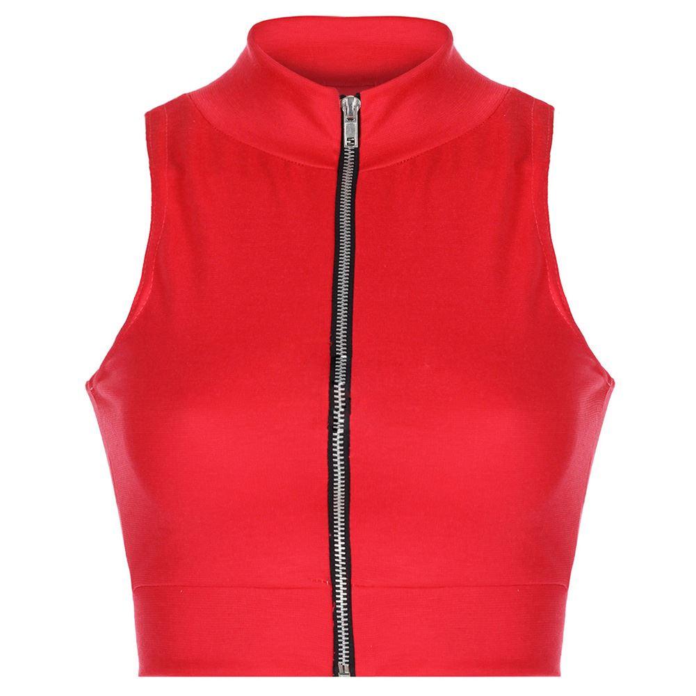 Ladies Womens Zipper Crop Top Ladies Sleeveless Polo Neck