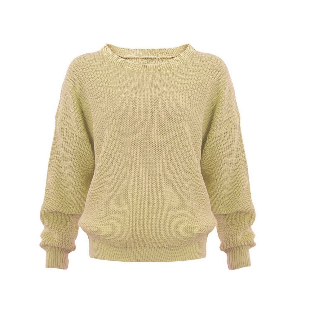 New Women Plain Chunky Knitted Baggy Oversize Fit Jumper Long Sleeve Sweater ...