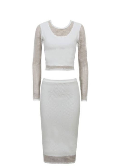 White Mesh Pencil Skirt - Skirts