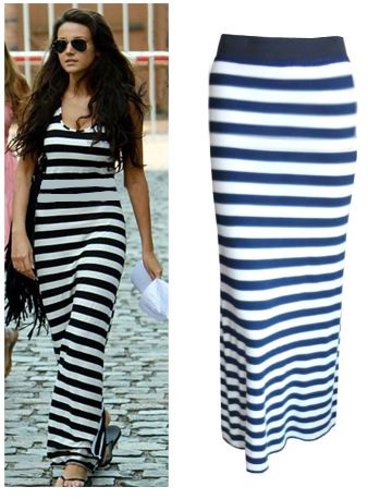 88d4bae286f7 Blue And White Striped Maxi Skirt | Skirt Direct