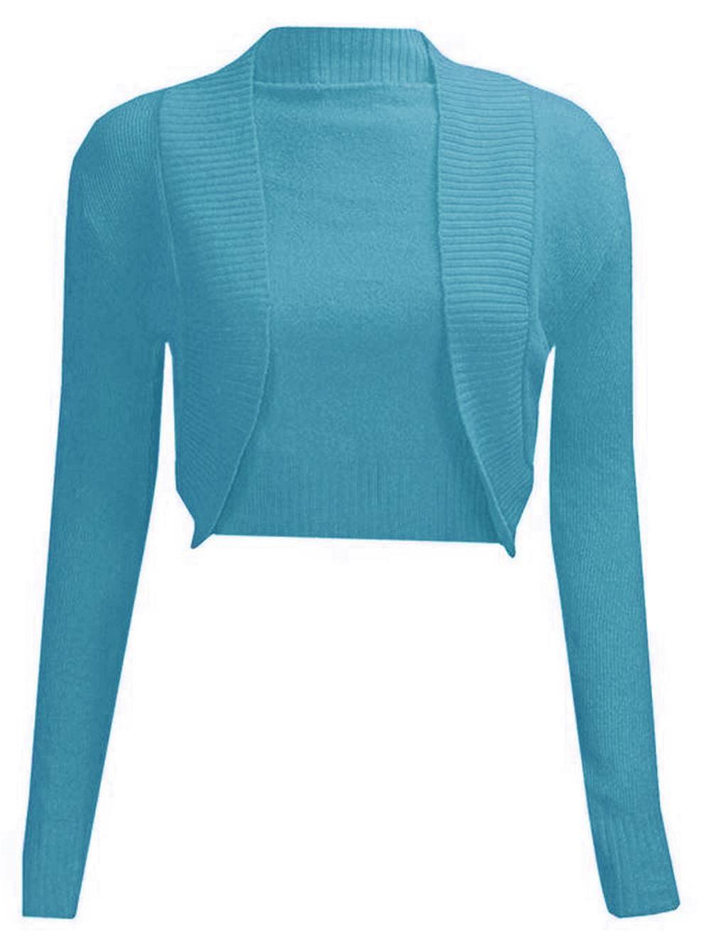 Plain Knitted Cardigan Pattern : NEW LADIES PLAIN LONG SLEEVE KNITTED BOLERO WOMENS SHRUG CARDIGAN TOP
