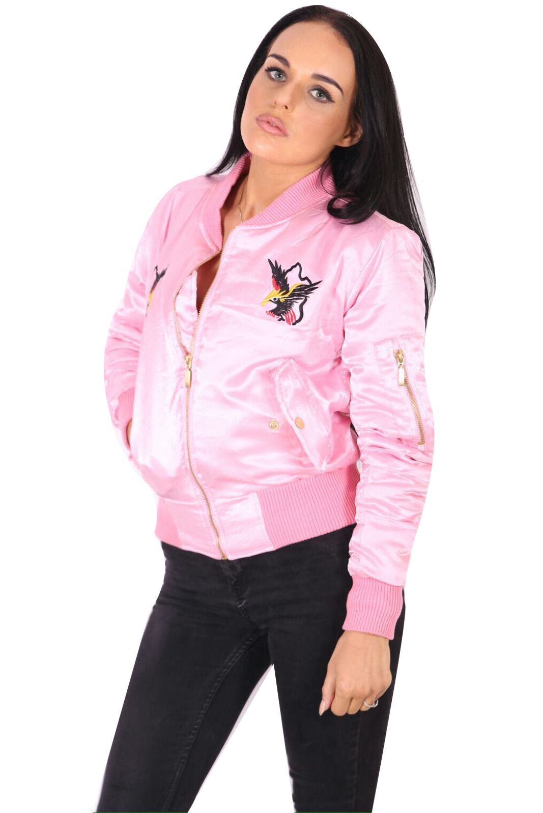 New womens ladies eagle bird embroidered bomber jacket
