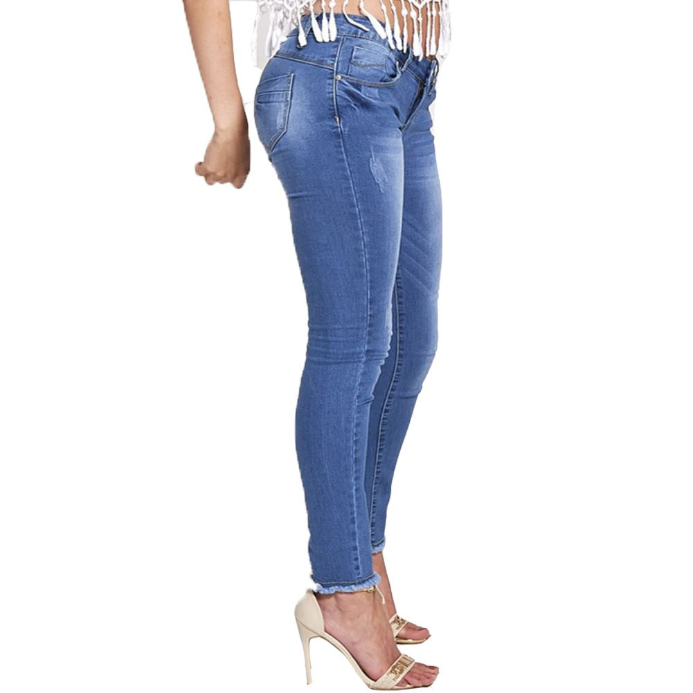 New Womens Blue Wash Faded Frayed Hem Skinny Denim Jeans ...