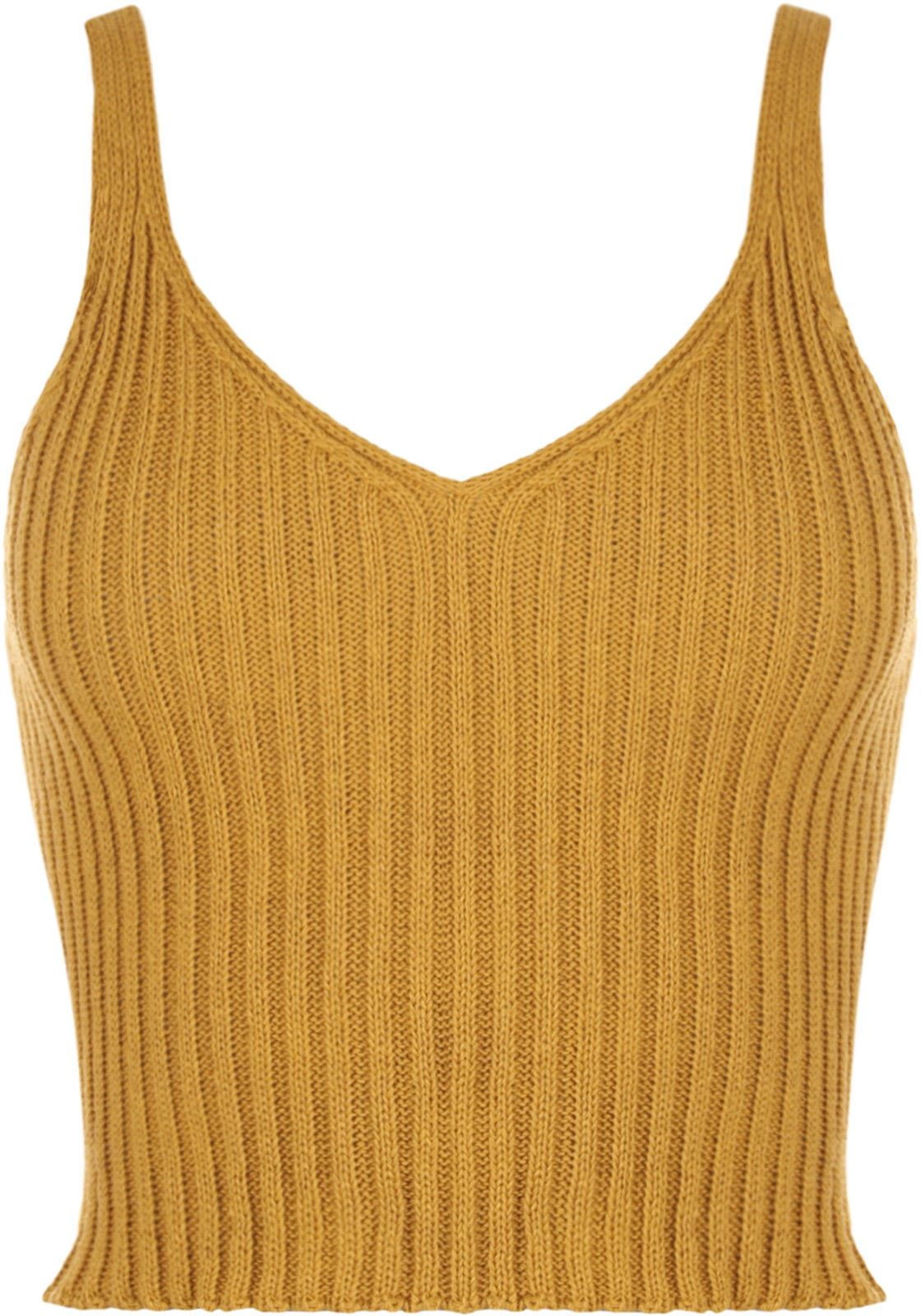 New Women Ladies V Neck Knitted Ribbed Plain Bralet Crop Top Sleeveless Vest ...