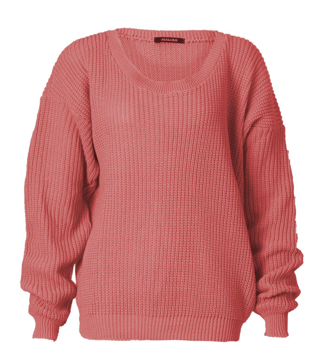 LADIES OVERSIZED BAGGY JUMPER KNITTED WOMENS SWEATER CHUNKY KNIT TOP JUMPERS ...