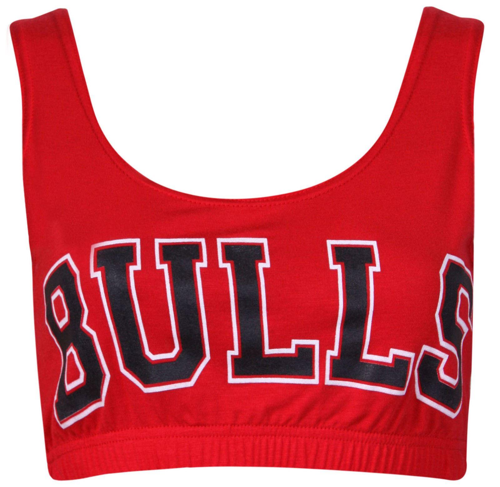 WOMENS LADIES GYM WORKOUT CHICAGO BULLS BASKETBAL CROP TOP BRALET 8 10 12 14