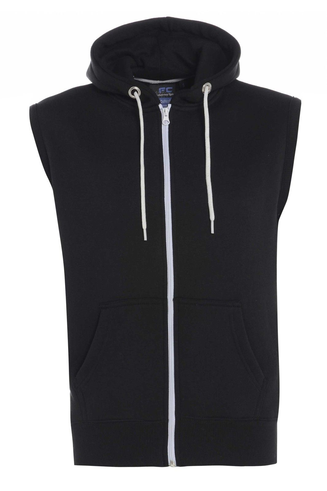 New Mens Boys Sleeveless Plain Gilet Hoodie Zip Up Fleece Hooded ...