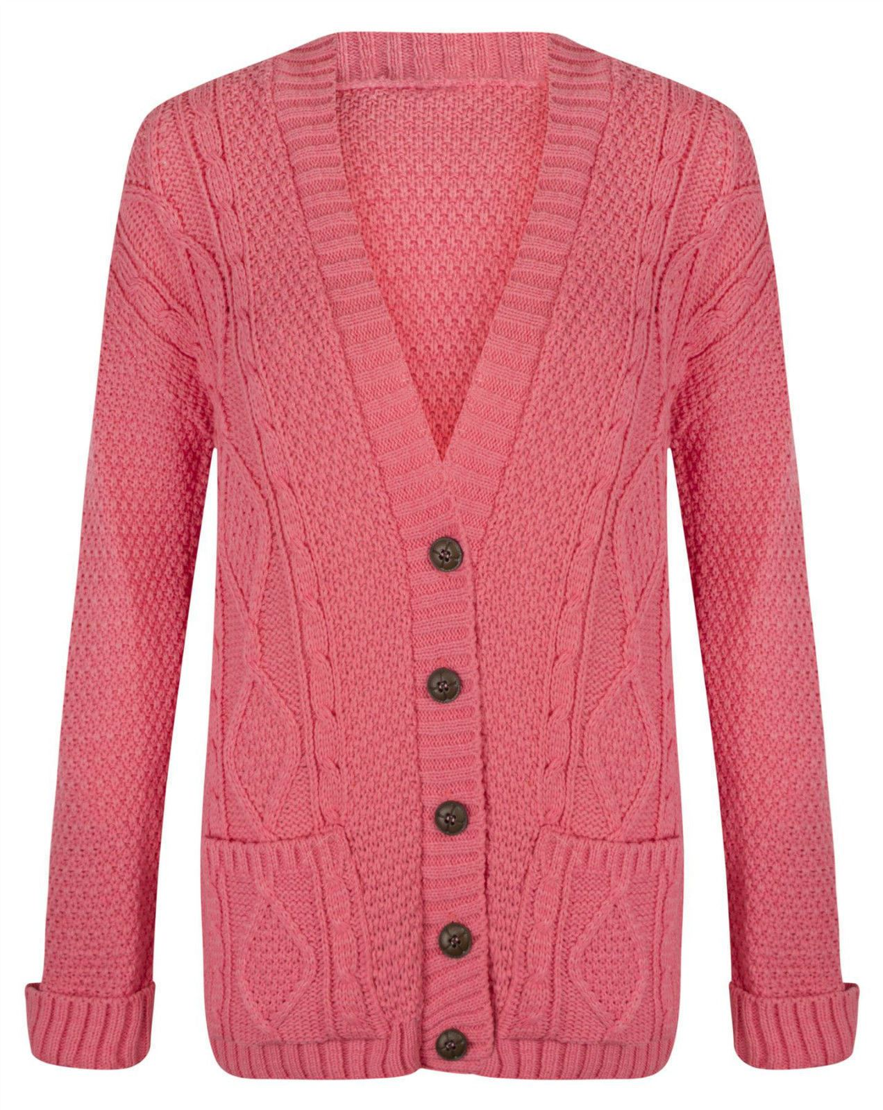 Knitting Cardigan For Ladies : Womens ladies chunky cable knit cardigan button long