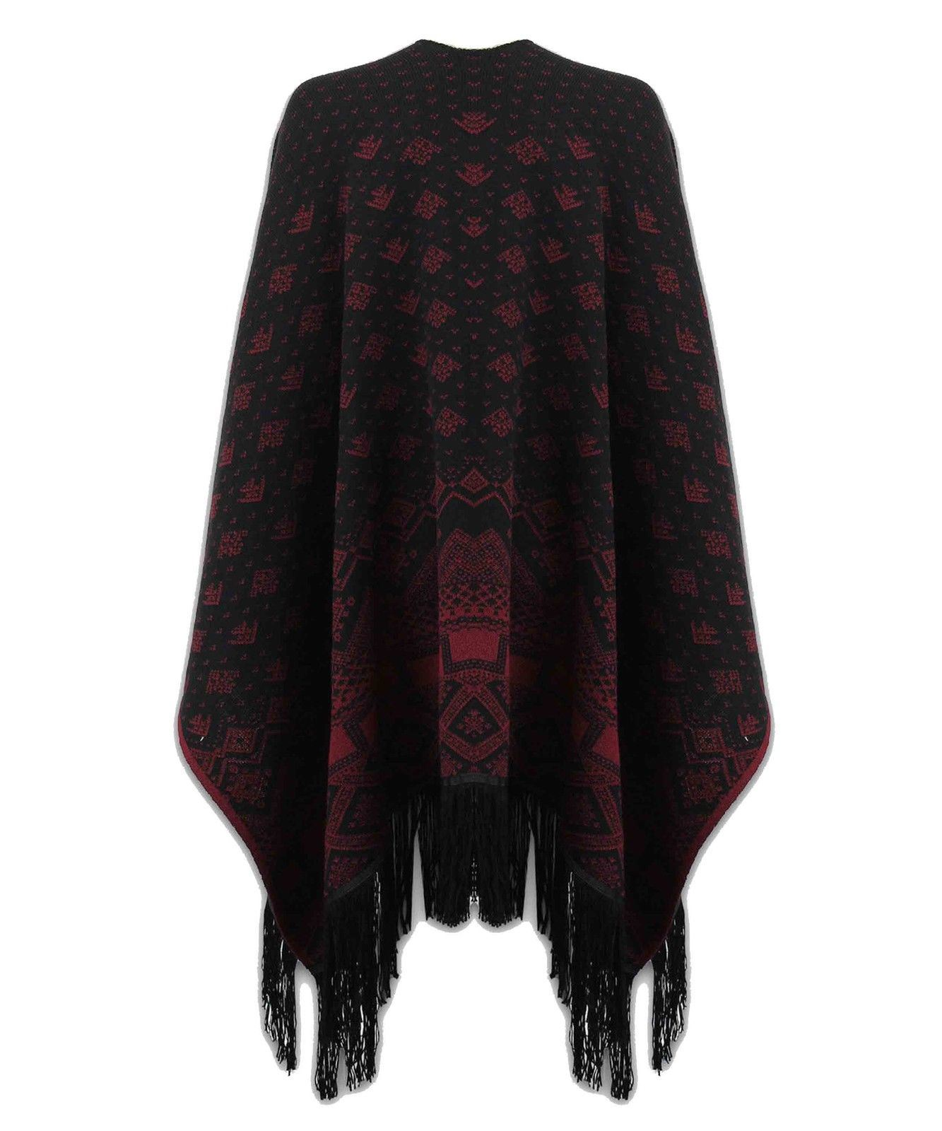 New Women Knitted Reversible Poncho Aztec Wrap Shawl ...