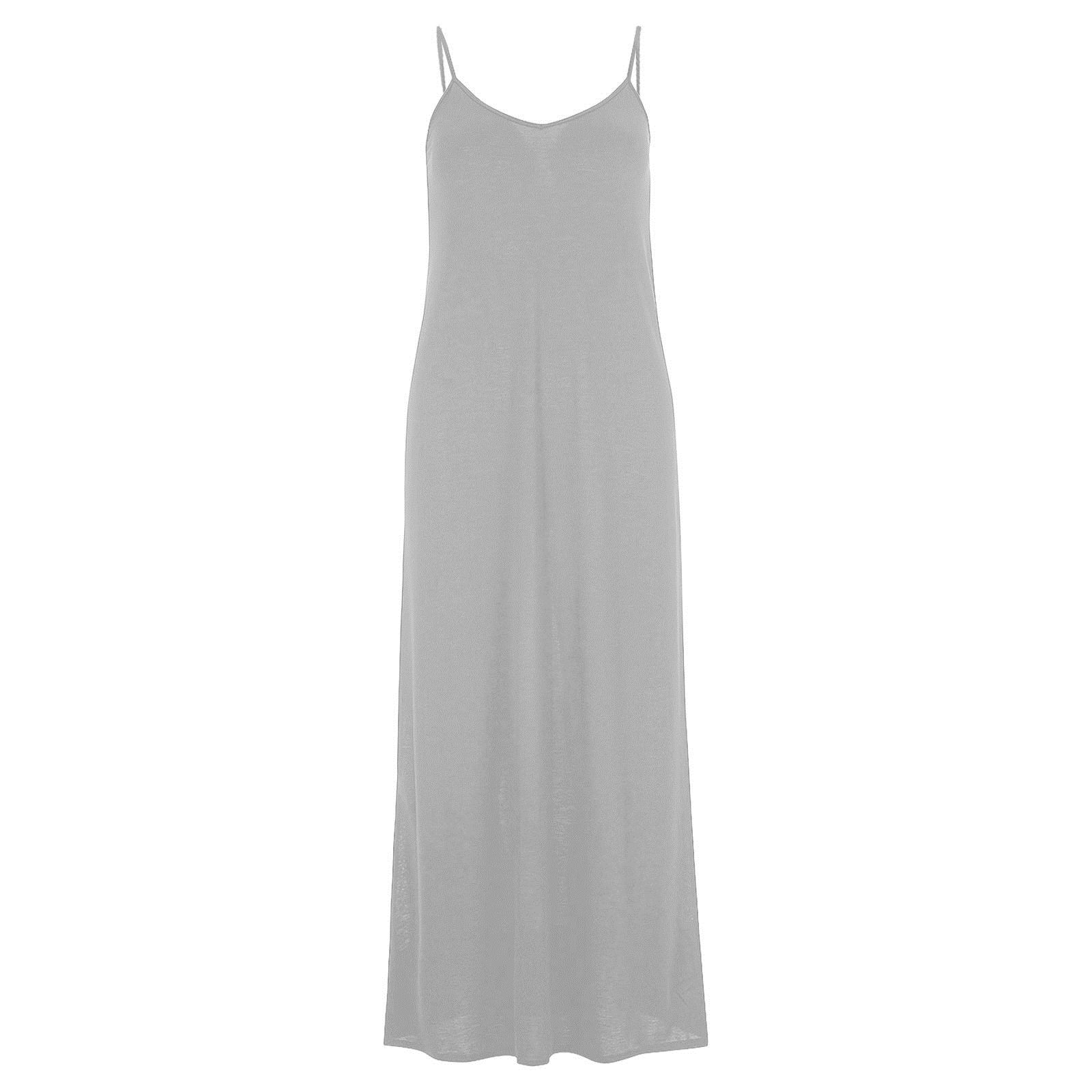 e57c0612c31 New Ladies Womens Cami Sleeveless Spaghetti Strap Long Maxi Dress ...